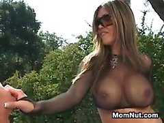 Busty Asian Mother Riding Cock Outside