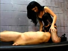 Dominatrix Leah Wilde sits on her slave's face and gets licked