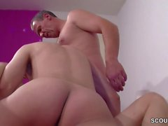 German Amateur Skinny Teen Fuck with Boyfriend and Father