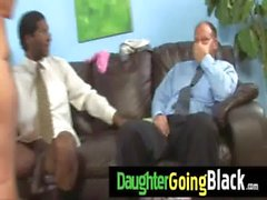 Watch my petite daughter when is ride a black cock 4