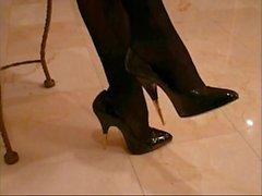 Black gold tip high heels Black nylon
