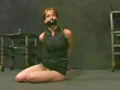 Blonde gets tied up in bondage and gets her ass toyed for the first time