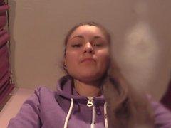 Girl Spitting and Smoking