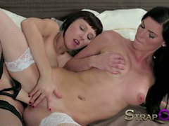 StrapOn Sexy lingerie lesbians fucking with strap on toy