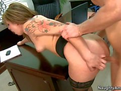 Bailey Blue gets her pussy drilled nicely at the office