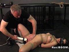 Tied up slave deep throat banged
