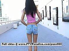 Ileana teenage brunette babe walking down the street