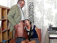 Old tutor gets cock loving action