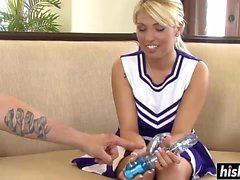 Busty cheerleader gets plowed without mercy
