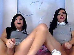 Twin Shemale Sisters Jerking Off Their Cock
