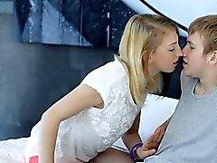 Hairy blonde teen Linda S stuffed and jizzed on her body