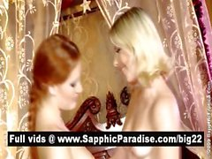 Superb redhead and blonde lesbos kissing and having lesbo sex
