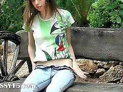 Ultra skeletal girl fingering on a bench