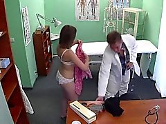 Doctor remove sex toy from tight pussy of patient