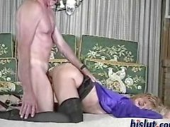 Mature blonde Nicole gets nasty with a geezer