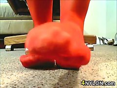Close Up Of These Nylon Covered Feet