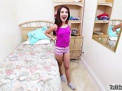 Tiny cute teen Sally Squirtz takes a dick so huge