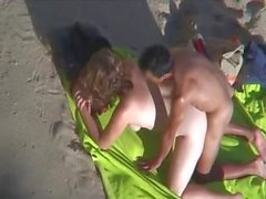 Big Woman and Small man fucking on beach voyeur