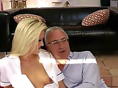 Blonde euro babe fucks old mans cock