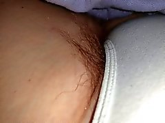 a sneaky feel of her dreaming hairy pussy in white pantys