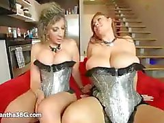 Two blonde chicks with huge and massive tits get fucked by two big black dicks