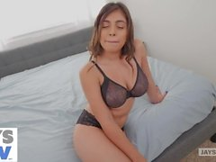 jay's pov - latina with huge natural tits gets creampied by her room mate