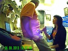 BJ in photostudio! Hidden cam! Cum to her mouth!