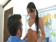 Sexy teacher gives her student a lesson on how to properly fuck