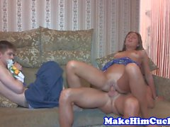 Cuckolding eurobabe punishes her cheating bf