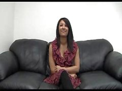 Busty brunette teen is on the casting couch and shows what she can do