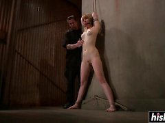 Seductive submissive girl tied up tortured