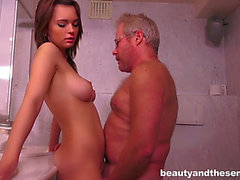 Brunette Hair sweetie Emily Thorne copulates greatly slutty old fart