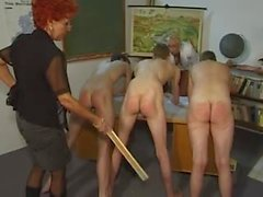 Youthful males spanked hard by curvy older teachers