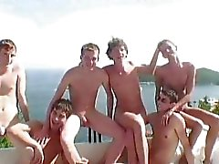 Six hot twinks having gay fucking party in a fine villa