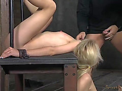Slim golden-haired sex slaves used by 2 large cocks