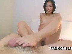 Kinky Japanese Milf Makoto Abe Footjob