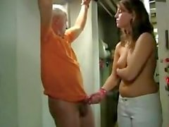 german cum denial bitch in handcuffs handjob