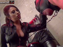 Mistress Tangent smokes and torments male slave