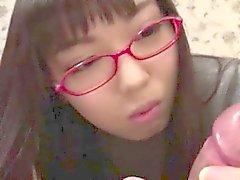 Young pretty asian schoolgirl sucking a warm load of cum