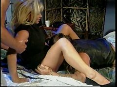 Horny blonde whore gets pounded from behind while giving head