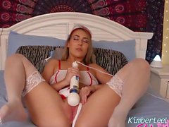 Nurse Kimber Lee Shows Off Her White Stockings & Pink Pussy!