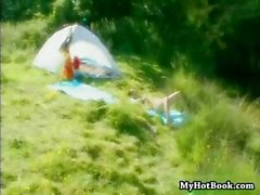 Brunette Susie Diamond is outside camping and banging in threesome