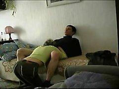 Hot russian brunette blows her mans cock
