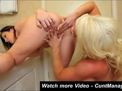 Alura Jenson lesbian party in bathroom
