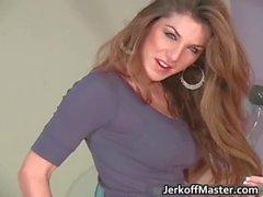 Attractive brunette babe is stripping