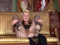 Striped Nylons rubbing Milf