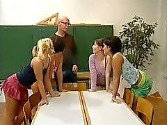 4 - Teen Schoolgirls And Their Lucky Teacher