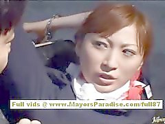 Chihiro Hara impertinente Asian Moidel é amarrado na cadeia e recebe um trem de sexo