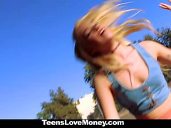 TeensLoveMoney-Blonde Hippie Strips and Fucks For Cash