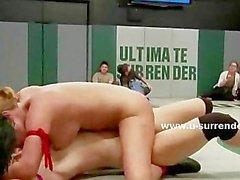 Three lesbians sluts wrestle